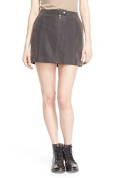 Women's Free People 'Get Into The Groove' Faux Leather Miniskirt Concrete