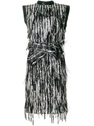 Christian Dior Vintage Sequinned Feather Dress Black