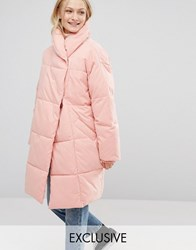 Monki Oversized Padded Coat Pink