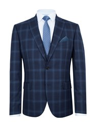 Paul Costelloe Men's Sutton Slim Fit Wool Check Suit Jacket Navy