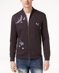 Inc International Concepts Men's Embroidered Knit Jacket Only At Macy's Dark Lead
