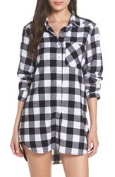 Make Model Flannel Nightshirt Black Buffalo Plaid