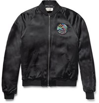 Saint Laurent Slim Fit Appliqued Satin Bomber Jacket Black