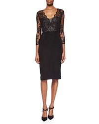 Monique Lhuillier Floral Lace Bustier Sheath Dress