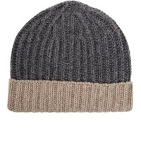 Barneys New York Men's Rib Knit Beanie Grey