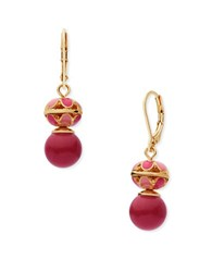 Anne Klein Epoxy Stone Goldtone Euro Wire Earrings Coral