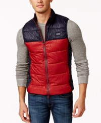 Armani Jeans Logo Colorblock Puffer Vest Red Navy