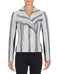 Ivanka Trump Striped Asymmetical Jacket Ivory