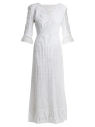 Talitha Edwardian Floral Embroidered Cotton Dress White