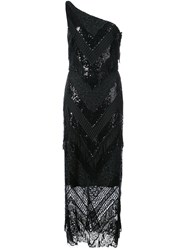 Christian Siriano Sequin Lace One Shoulder Dress Black
