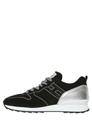 Hogan Rebel 20Mm Suede And Metallic Leather Sneakers