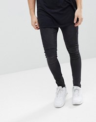 Religion Drop Crotch Jean With Biker Knee Detail And Zip Ankle Washed Black