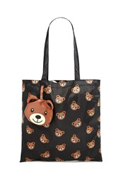 Forever 21 Bear Print Pop Out Tote Bag Black Brown