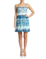 Guess Abstract Print A Line Dress Blue Multi