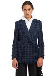 Msgm Tweed Double Breasted Blazer Jacket Blue