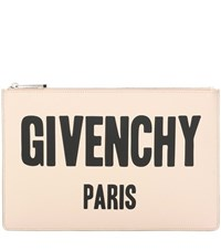 Givenchy Iconic Print Printed Leather Clutch Neutrals