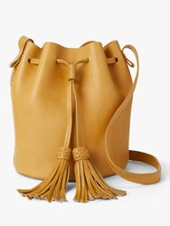 And Or Isabella Leather Whipstitch Drawstring Bucket Bag Ochre