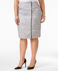 Kasper Plus Size Zipper Trim Tweed Pencil Skirt Grey