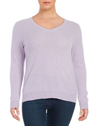 Lord And Taylor Plus Cashmere Crewneck Sweater Iris Heather