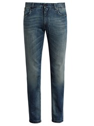 Fendi Bag Bugs Embroidered Slim Leg Jeans Blue