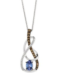 Le Vian Ocean Wave Tanzanite 5 8 Ct. T.W. And Diamond 3 8 Ct. T.W. Swirl Pendant Necklace In 14K White Gold
