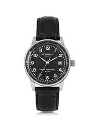 Forzieri Discovery Lady Silver Tone Stainless Steel Case And Genuine Leather Strap Women's Watch Silver Black