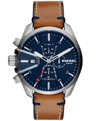 Diesel Men's Chronograph Ms9 Chrono Brown Leather Strap Watch 47Mm No Color