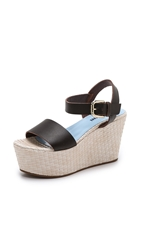 Studio Pollini Wedge Sandals Dark Brown Beige