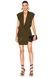 Alexandre Vauthier Japanese Crepe Deep V Wrap Dress In Green