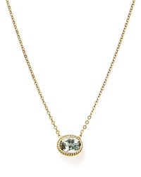 Bloomingdale's Green Amethyst Bezel Pendant Necklace In 14K Yellow Gold 18 Green Gold