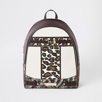 River Island Brown Animal Print Snaffle Front Backpack