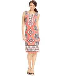 Jm Collection Petite Printed Split Neck Dress Coral Scroll