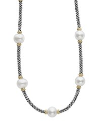Lagos 18K Gold And Sterling Silver Luna Rope Necklace With Cultured Freshwater Pearls 16 White Multi