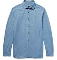 Club Monaco Lim Fit Cotton Chambray Hirt Mid Denim