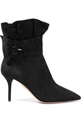 Aquazzura Palace Ruffled Suede Ankle Boots Black