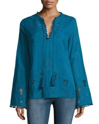 Talitha Collection Sana Embroidered Pompom Tunic Blue
