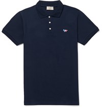 Maison Kitsune Slim Fit Cotton Piqua Polo Shirt Midnight Blue