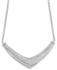 Wrapped In Love Diamond Pave Set Crossover Necklace In Sterling Silver 1 Ct. T.W.