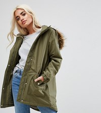 Noisy May Petite Parka Jacket With Faux Fur Trim Hood Green