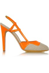 Aperlai Canvas And Patent Leather Slingbacks Orange