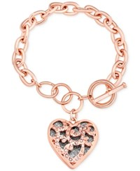Guess Rose Gold Tone Pave Heart Charm Toggle Bracelet