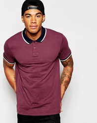 Asos Polo Shirt With Contrast Collar And Tipping Burgundy