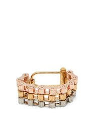 Burberry Triple Bicycle Chain Bracelet Silver Gold