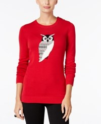 Charter Club Petite Owl Graphic Sweater Only At Macy's New Red Amore Combo