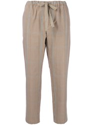 Erika Cavallini Cropped Checked Trousers Nude And Neutrals