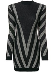 Balmain Lurex Chevron Turtleneck Mini Dress Black
