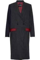 Veda Corporate Leather Trimmed Pinstriped Wool Blend Coat Charcoal