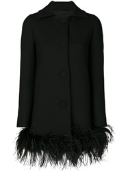 Boutique Moschino Feather Trim Coat Women Polyamide Polyester Acetate Turkey Feather 40 Black