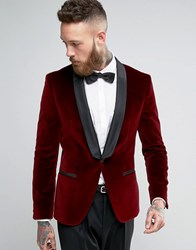 Hugo By Boss Arian Velvet Tux Blazer Satin Lapel Slim Fit Red