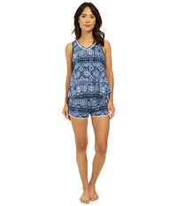 Lucky Brand Knit Shorty Set Persian Holiday Women's Pajama Sets Blue